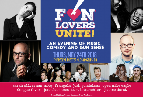 Moby Added to Fun Lovers Unite Gun Sense Event on May 24 at Regent Theater in DTLA Joining Sarah Silverman, Dengue Fever, Jonathan Ames and more